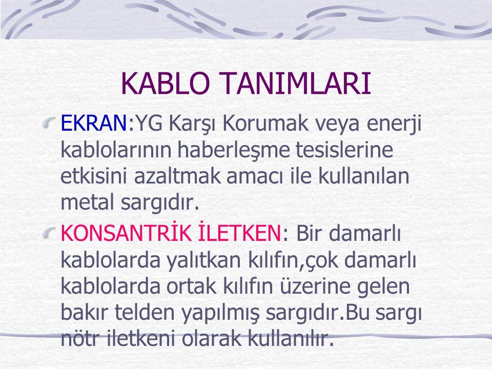 KABLO TANIMLARI EKRAN:YG Karşı Korumak veya enerji kablolarının haberleşme tesislerine etkisini azaltmak amacı ile kullanılan metal sargıdır.