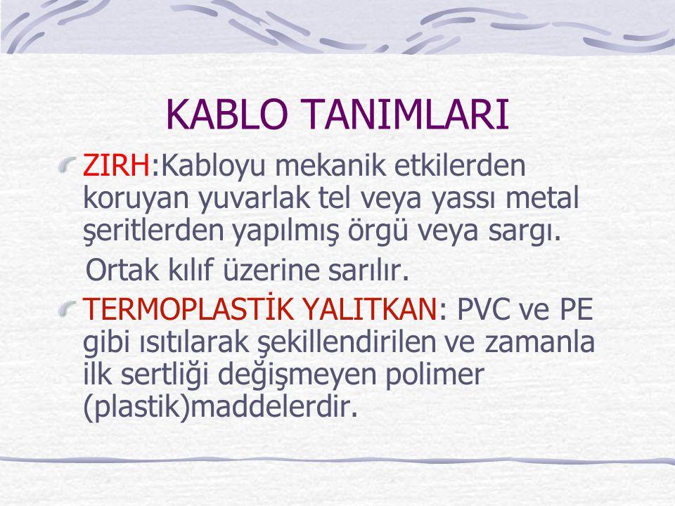 KABLO TANIMLARI ZIRH:Kabloyu mekanik etkilerden koruyan yuvarlak tel veya yassı metal şeritlerden yapılmış örgü veya sargı.