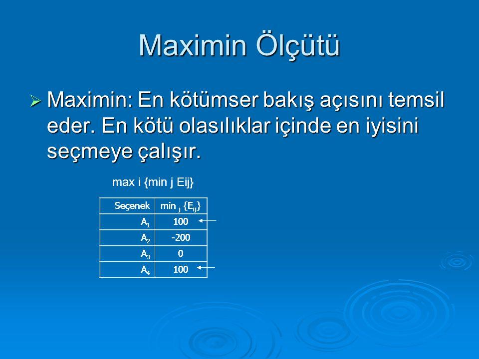 Maximin Ölçütü  Maximin: En kötümser bakış açısını temsil eder. En kötü olasılıklar içinde en iyisini seçmeye çalışır. Seçenekmin j {E ij } A1A1 100