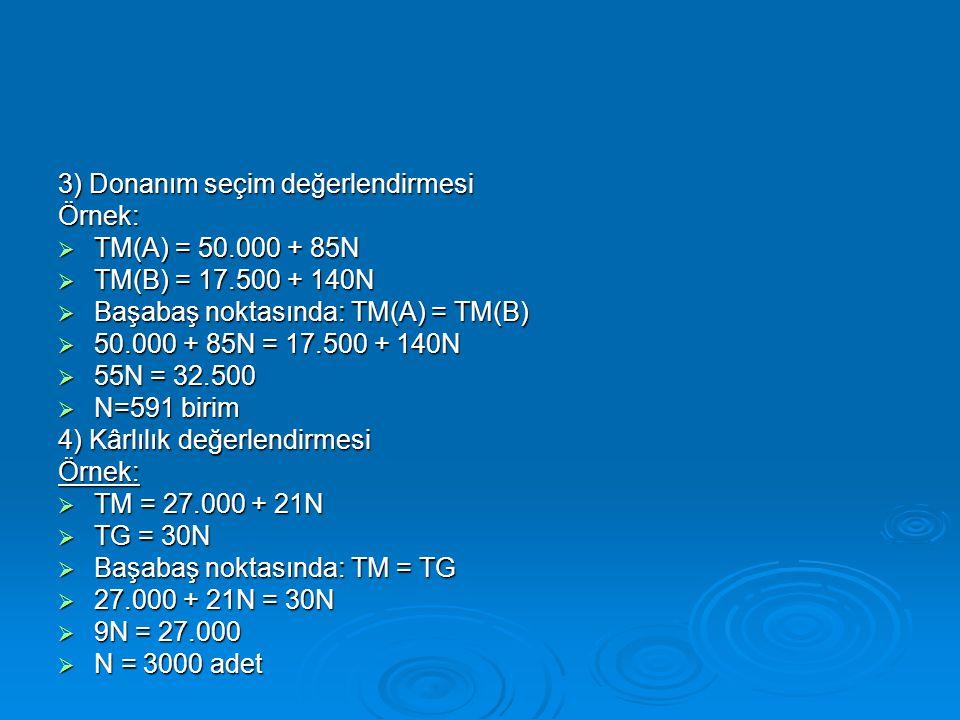 3) Donanım seçim değerlendirmesi Örnek:  TM(A) = 50.000 + 85N  TM(B) = 17.500 + 140N  Başabaş noktasında: TM(A) = TM(B)  50.000 + 85N = 17.500 + 1