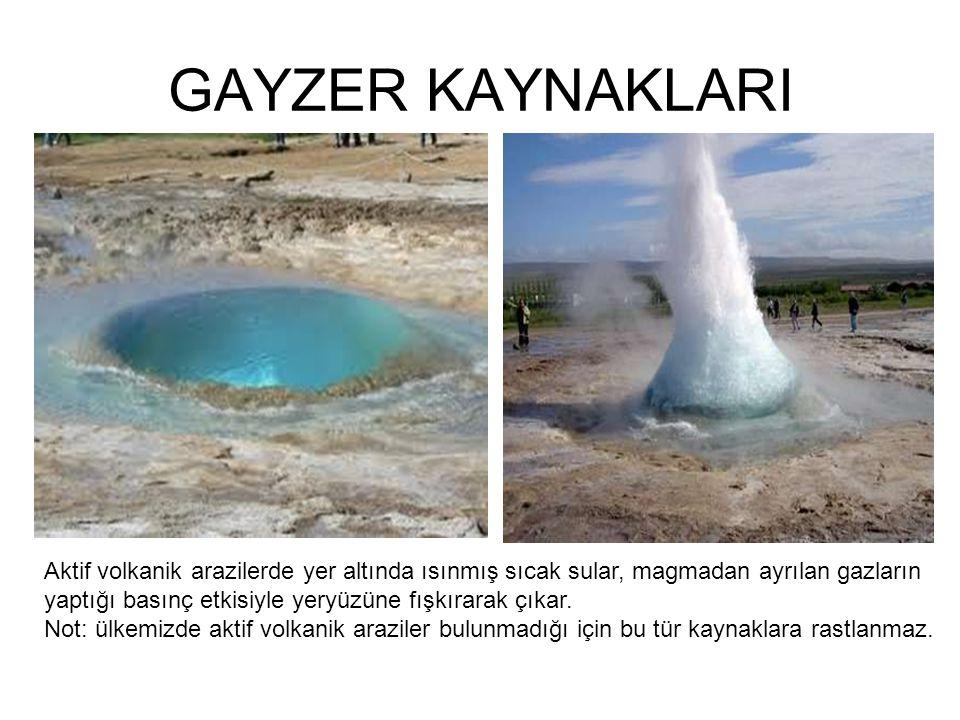 GAYZER KAYNAKLARI Aktif volkanik arazilerde yer altında ısınmış sıcak sular, magmadan ayrılan gazların yaptığı basınç etkisiyle yeryüzüne fışkırarak çıkar.