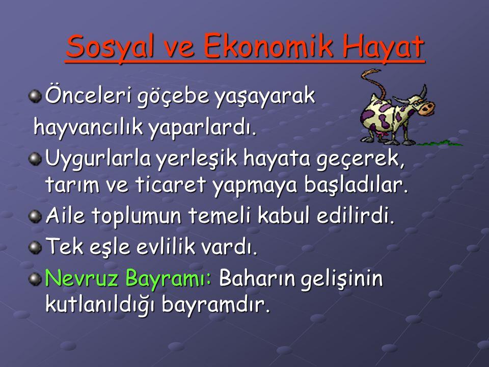 DİN VE İNANIŞ Balbal: Ölen kişinin mezarının başına hayatta iken öldürdüğü düşman sayısınca dikilen heykellerdir. Türklerin kabul ettikleri diğer dinl