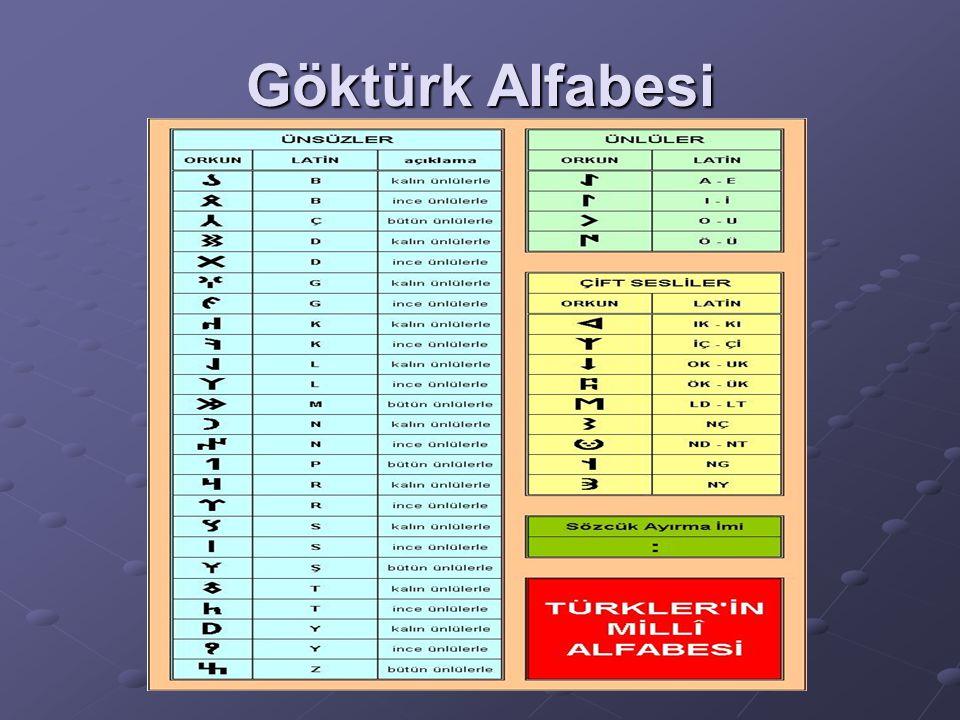 Göktürk Alfabesi 38 harflidir. Dördü sesli, diğerleri sessizdir. Sağdan sola yazılır. (Kutluk Devleti kullandı.) (Kutluk Devleti kullandı.) Göktürk Al