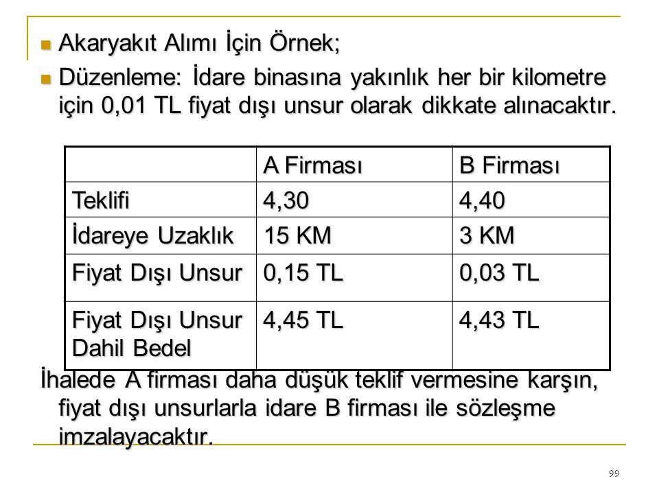 99  Akaryakıt Alımı İçin Örnek;  Düzenleme: İdare binasına yakınlık her bir kilometre için 0,01 TL fiyat dışı unsur olarak dikkate alınacaktır.