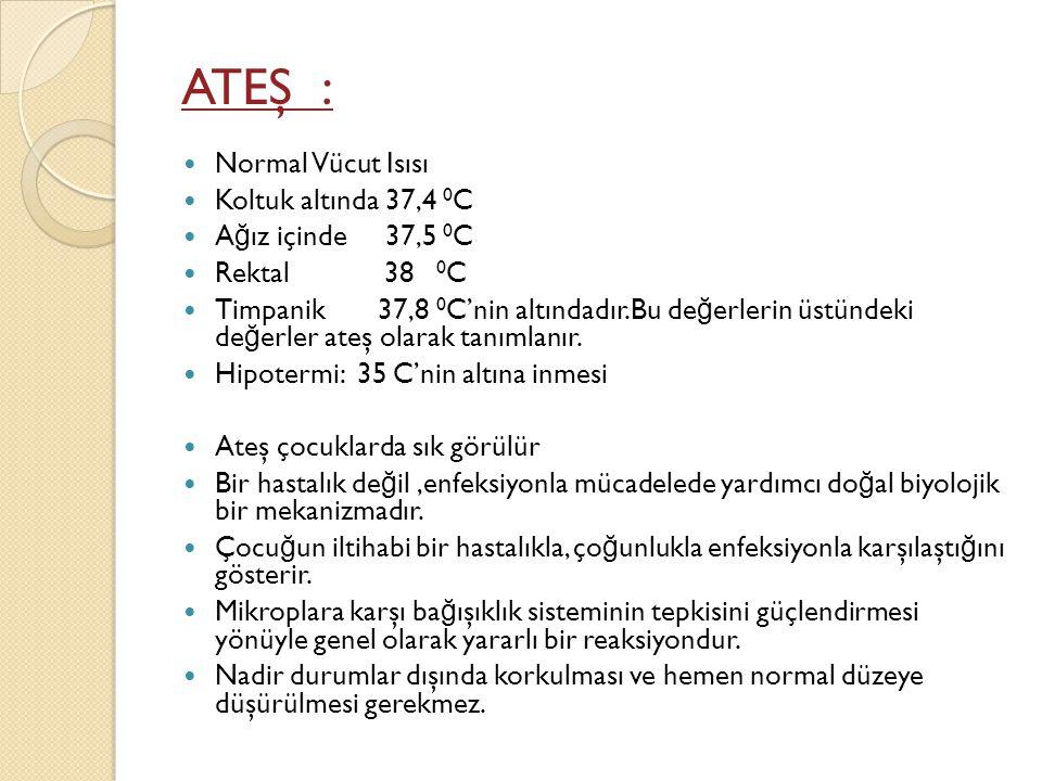 Rektal ölçüm( Makattan)  Normal rektal vücut sıcaklı ğ ı 36.6 -38 C arasındadır.