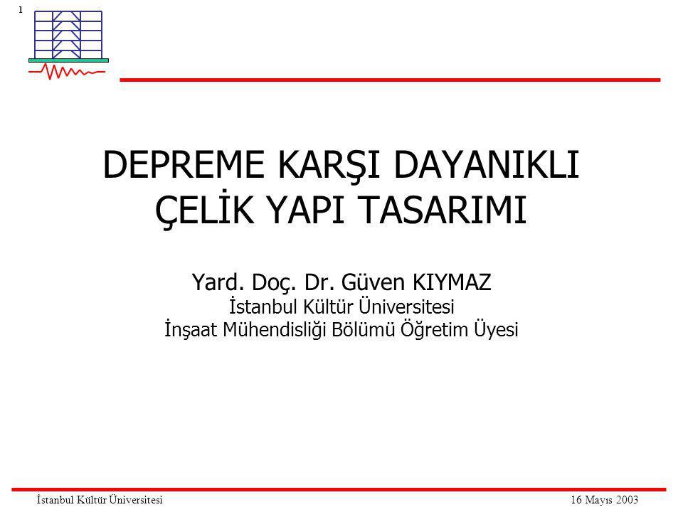 32 16 Mayıs 2003İstanbul Kültür Üniversitesi Taşıyıcı sistem çeşitleri Merkezi çaprazlı sistemler Merkezi çaprazlı sistemler yüksek elastik yatay rijitiğe sahip yatay-yük taşıyıcı sistemlerdir.