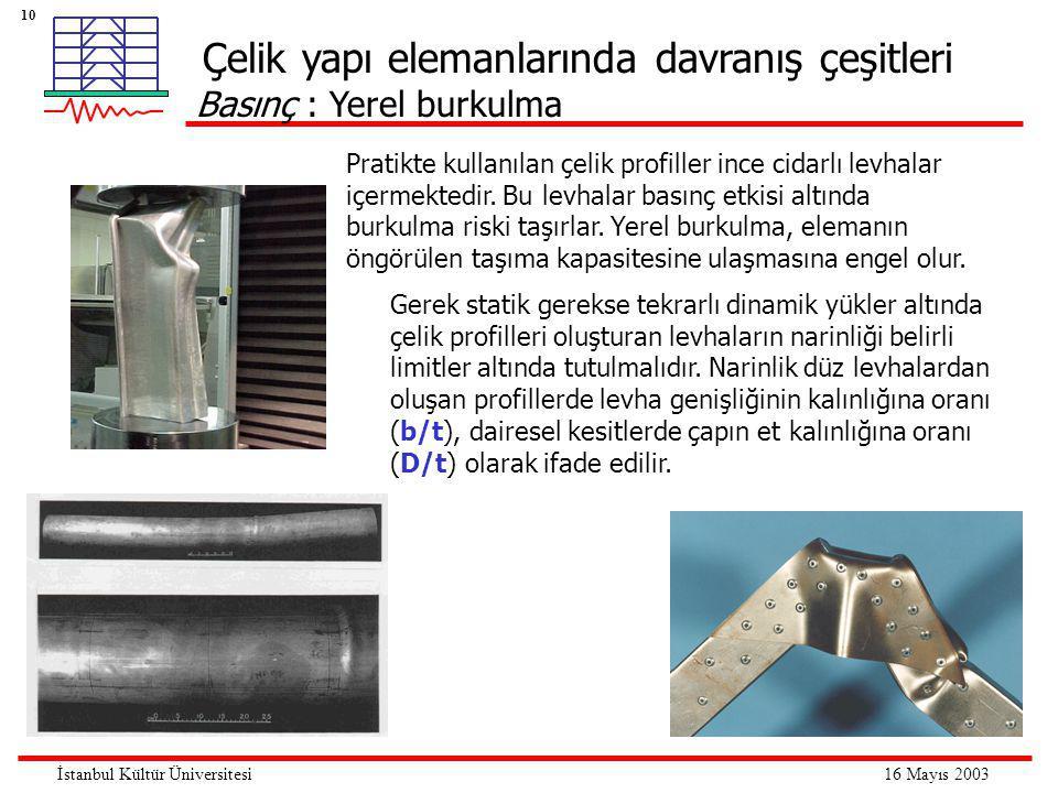 10 16 Mayıs 2003İstanbul Kültür Üniversitesi Çelik yapı elemanlarında davranış çeşitleri Basınç : Yerel burkulma Gerek statik gerekse tekrarlı dinamik yükler altında çelik profilleri oluşturan levhaların narinliği belirli limitler altında tutulmalıdır.