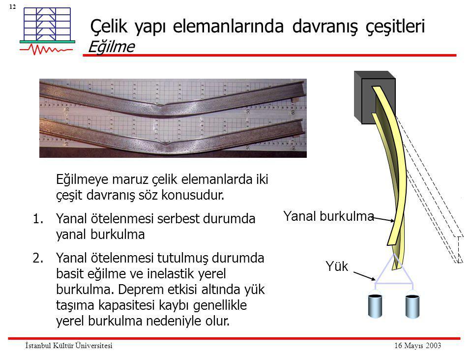 12 16 Mayıs 2003İstanbul Kültür Üniversitesi Çelik yapı elemanlarında davranış çeşitleri Eğilme Yük Yanal burkulma Eğilmeye maruz çelik elemanlarda iki çeşit davranış söz konusudur.