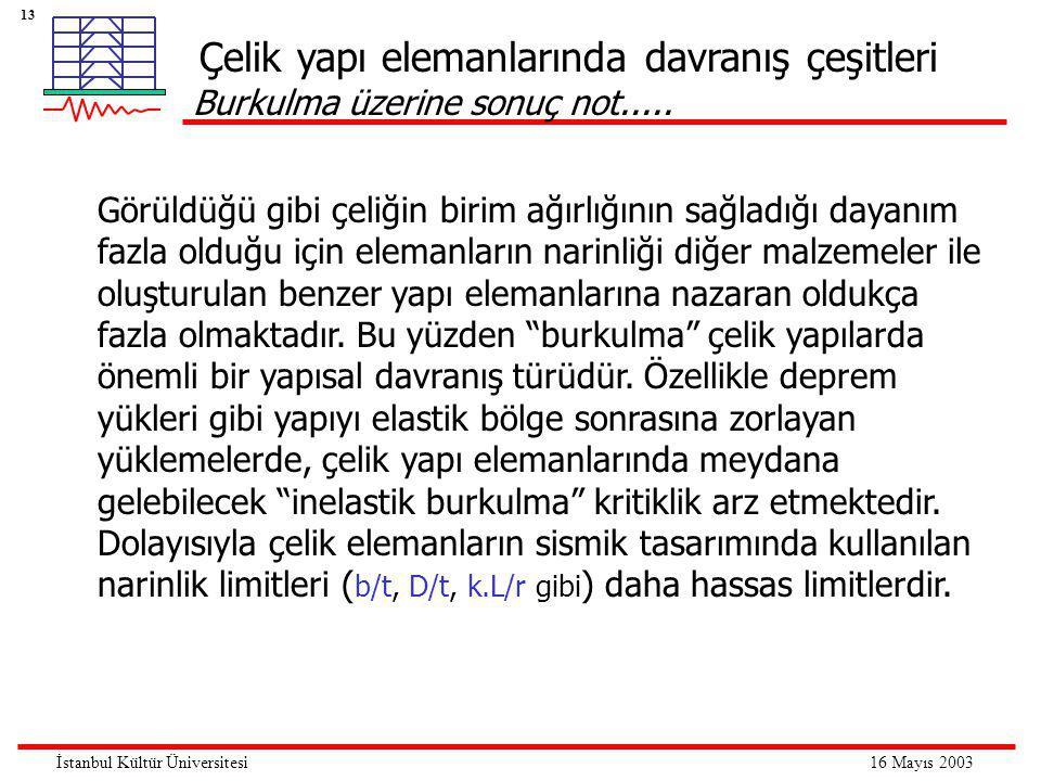 13 16 Mayıs 2003İstanbul Kültür Üniversitesi Görüldüğü gibi çeliğin birim ağırlığının sağladığı dayanım fazla olduğu için elemanların narinliği diğer malzemeler ile oluşturulan benzer yapı elemanlarına nazaran oldukça fazla olmaktadır.