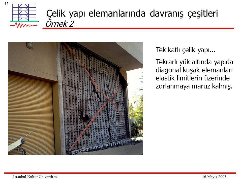 17 16 Mayıs 2003İstanbul Kültür Üniversitesi Tek katlı çelik yapı...
