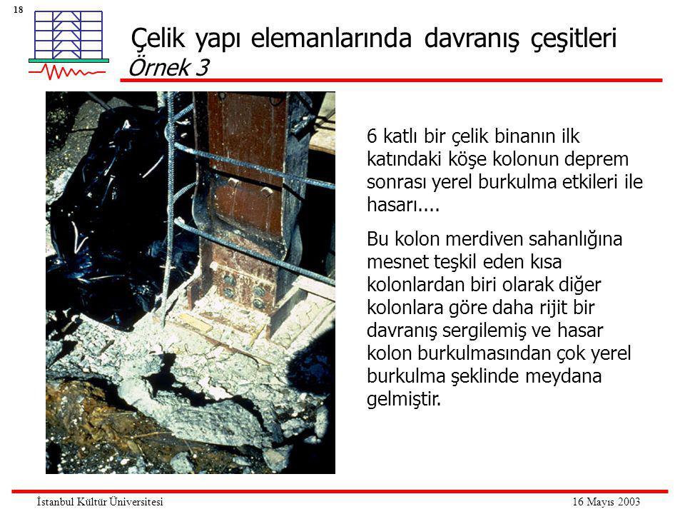 18 16 Mayıs 2003İstanbul Kültür Üniversitesi Çelik yapı elemanlarında davranış çeşitleri Örnek 3 6 katlı bir çelik binanın ilk katındaki köşe kolonun deprem sonrası yerel burkulma etkileri ile hasarı....
