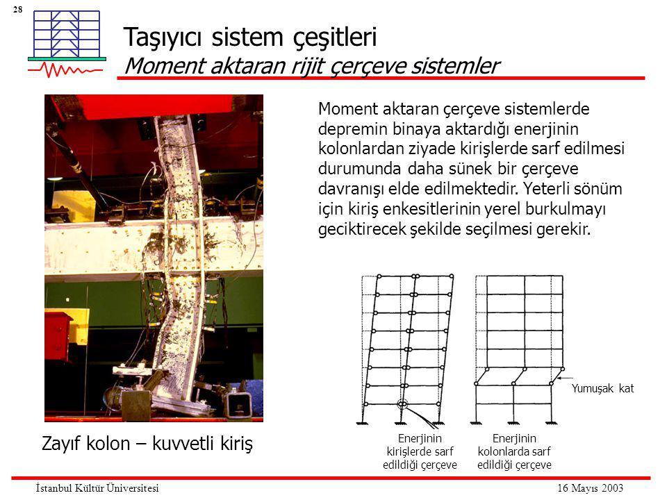 28 16 Mayıs 2003İstanbul Kültür Üniversitesi Taşıyıcı sistem çeşitleri Moment aktaran rijit çerçeve sistemler Moment aktaran çerçeve sistemlerde depremin binaya aktardığı enerjinin kolonlardan ziyade kirişlerde sarf edilmesi durumunda daha sünek bir çerçeve davranışı elde edilmektedir.