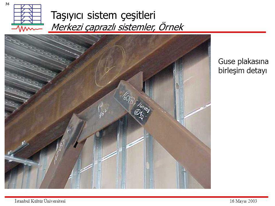 36 16 Mayıs 2003İstanbul Kültür Üniversitesi Taşıyıcı sistem çeşitleri Merkezi çaprazlı sistemler, Örnek Guse plakasına birleşim detayı