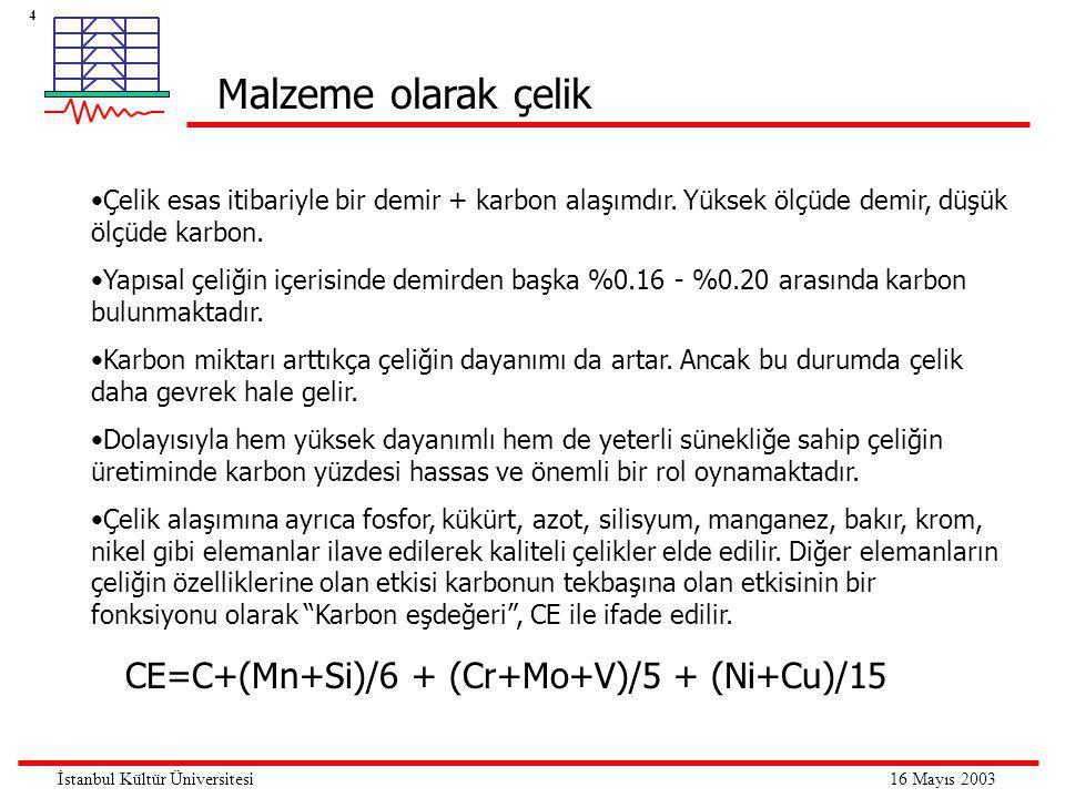 4 16 Mayıs 2003İstanbul Kültür Üniversitesi •Çelik esas itibariyle bir demir + karbon alaşımdır. Yüksek ölçüde demir, düşük ölçüde karbon. •Yapısal çe