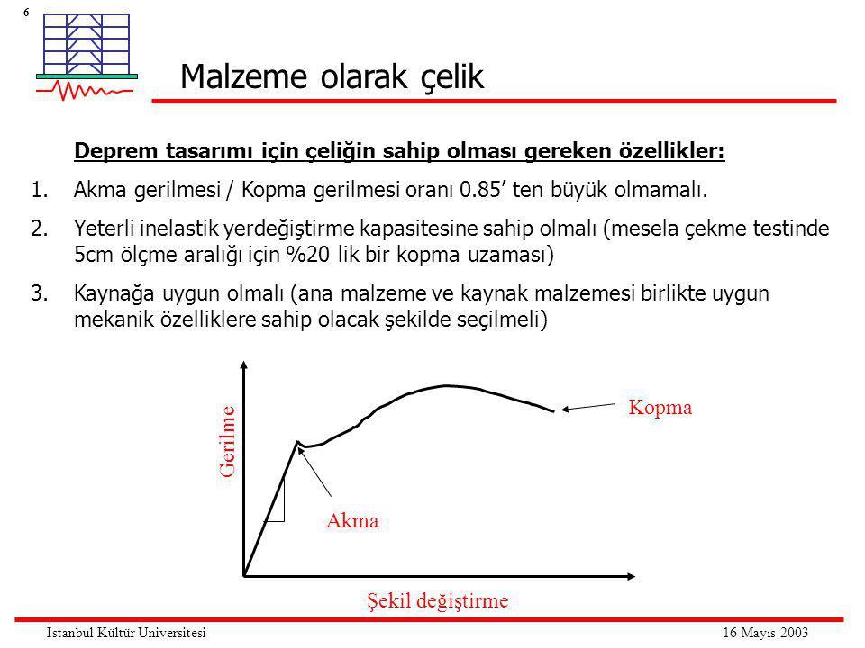 6 16 Mayıs 2003İstanbul Kültür Üniversitesi Deprem tasarımı için çeliğin sahip olması gereken özellikler: 1.Akma gerilmesi / Kopma gerilmesi oranı 0.85' ten büyük olmamalı.