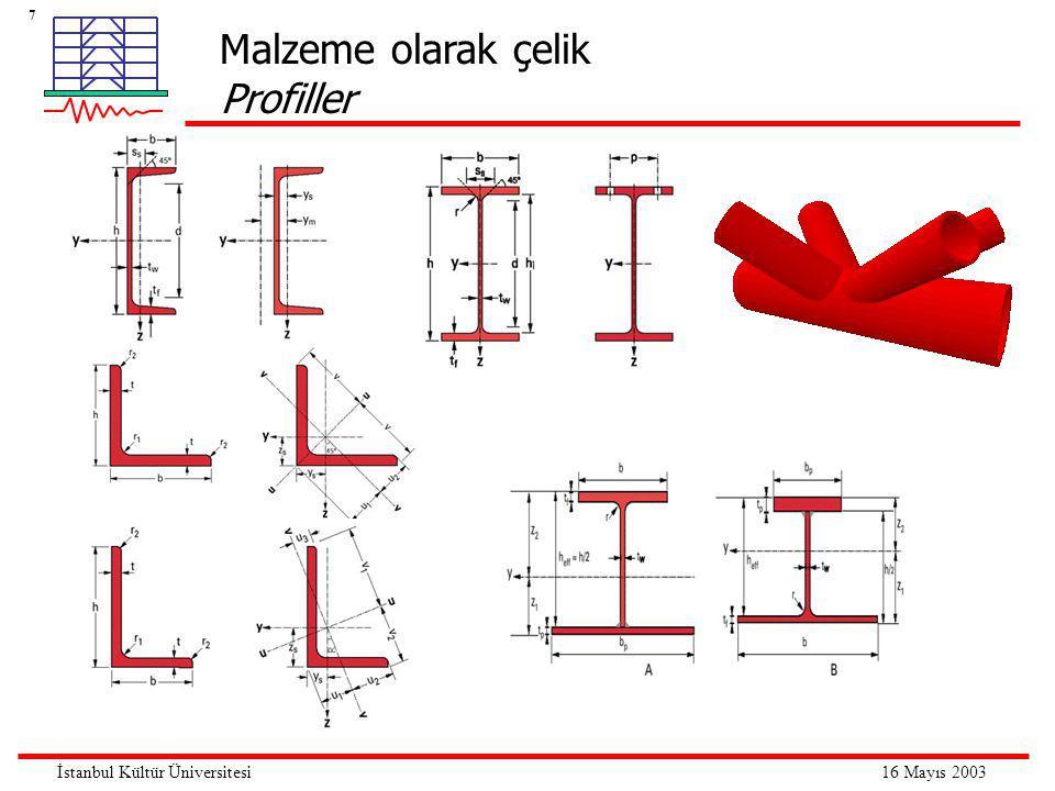 8 16 Mayıs 2003İstanbul Kültür Üniversitesi Çelik yapı elemanlarında davranış çeşitleri Çekme  Eksenel çekmeye maruz çelik elemanlar, elemanın enkesit alanının tamamen akması esasına göre boyutlandırılır.