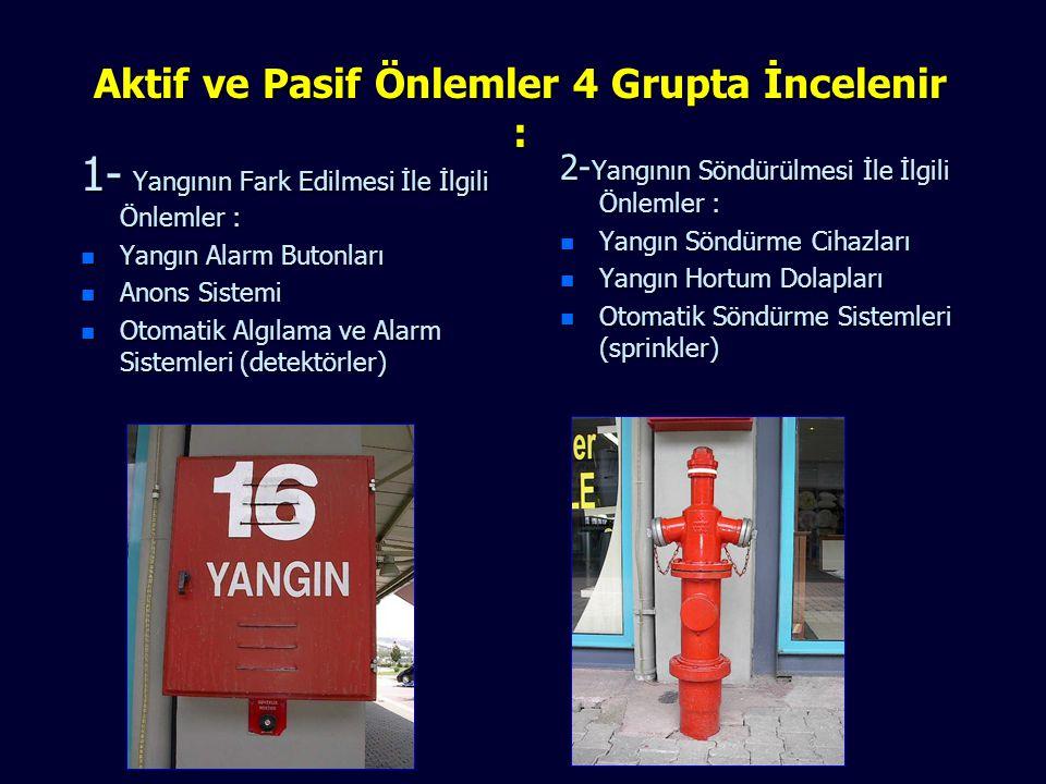 YANGINLARA KARŞI ÖNLEMLER Bu önlemler aktif ve pasif olmak üzere ikiye ayrılır; n Pasif Önlemler : Proje aşamasında başlayan yangının çıkmasını önleye