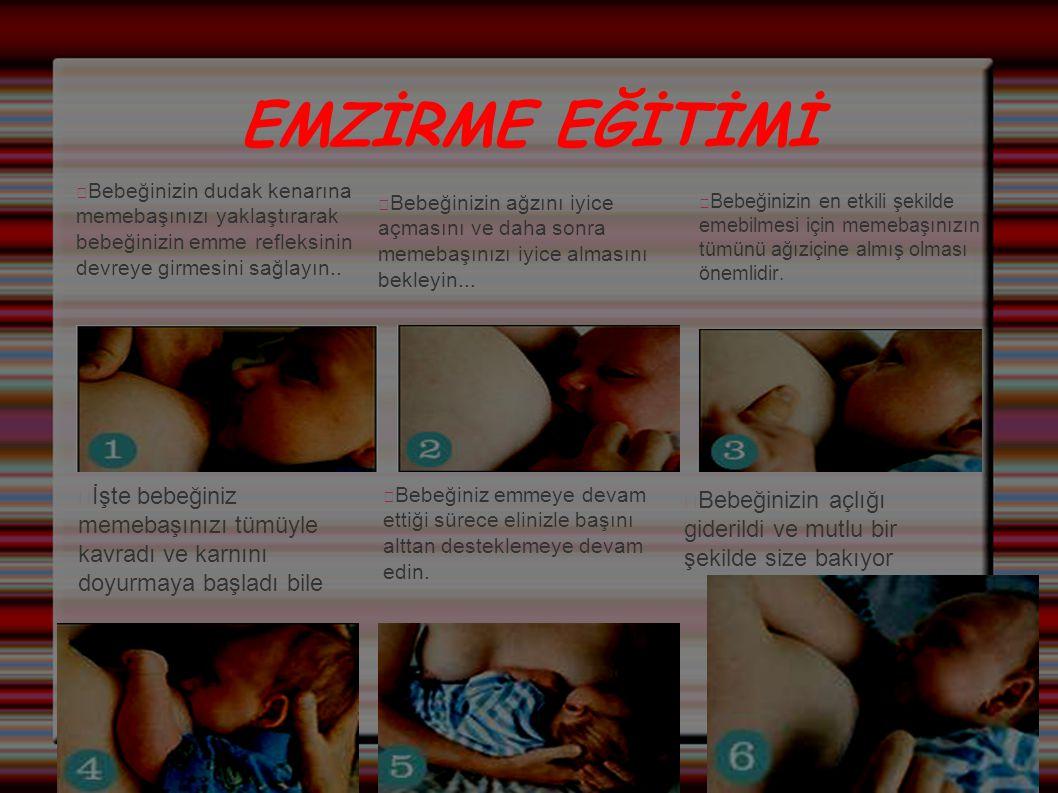 EMZİRME EĞİTİMİ Bebeğinizin dudak kenarına memebaşınızı yaklaştırarak bebeğinizin emme refleksinin devreye girmesini sağlayın.. Bebeğinizin ağzını iyi