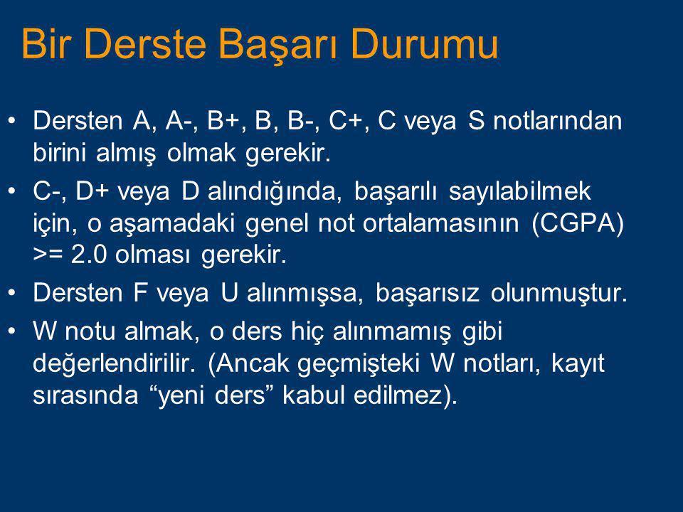 Bir Derste Başarı Durumu •Dersten A, A-, B+, B, B-, C+, C veya S notlarından birini almış olmak gerekir. •C-, D+ veya D alındığında, başarılı sayılabi