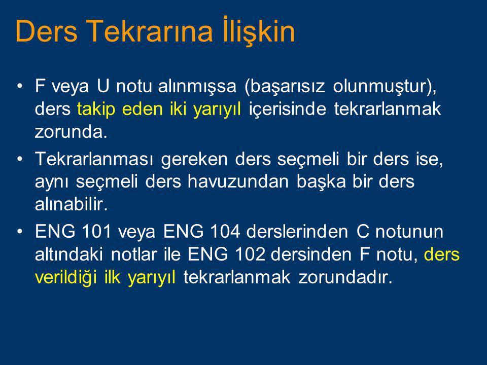 Ders Tekrarına İlişkin •F veya U notu alınmışsa (başarısız olunmuştur), ders takip eden iki yarıyıl içerisinde tekrarlanmak zorunda. •Tekrarlanması ge