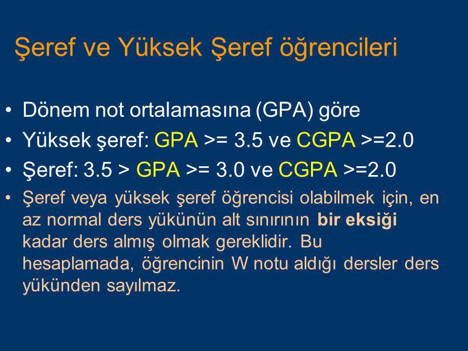 Şeref ve Yüksek Şeref öğrencileri •Dönem not ortalamasına (GPA) göre •Yüksek şeref: GPA >= 3.5 ve CGPA >=2.0 •Şeref: 3.5 > GPA >= 3.0 ve CGPA >=2.0 •Ş
