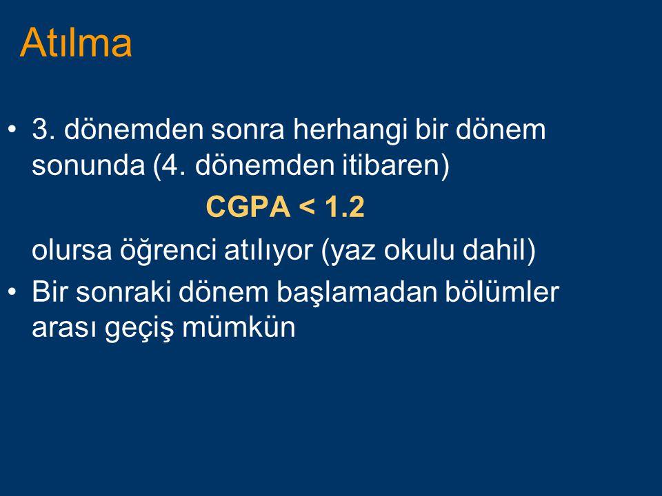 Atılma •3. dönemden sonra herhangi bir dönem sonunda (4. dönemden itibaren) CGPA < 1.2 olursa öğrenci atılıyor (yaz okulu dahil) •Bir sonraki dönem ba