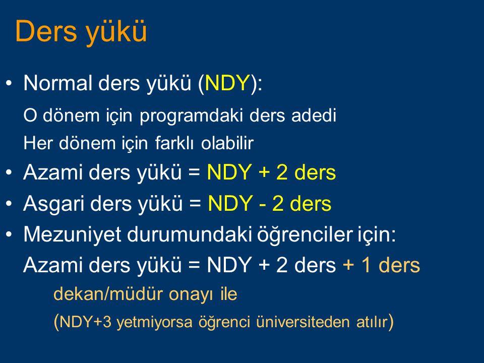 Ders yükü •Normal ders yükü (NDY): O dönem için programdaki ders adedi Her dönem için farklı olabilir •Azami ders yükü = NDY + 2 ders •Asgari ders yük