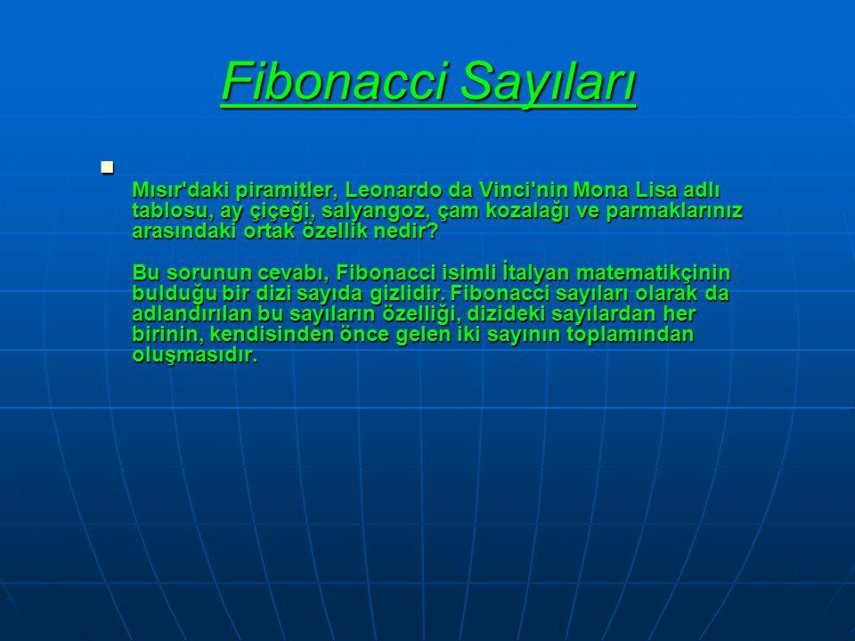 Fibonacci Sayıları  Mısır'daki piramitler, Leonardo da Vinci'nin Mona Lisa adlı tablosu, ay çiçeği, salyangoz, çam kozalağı ve parmaklarınız arasında