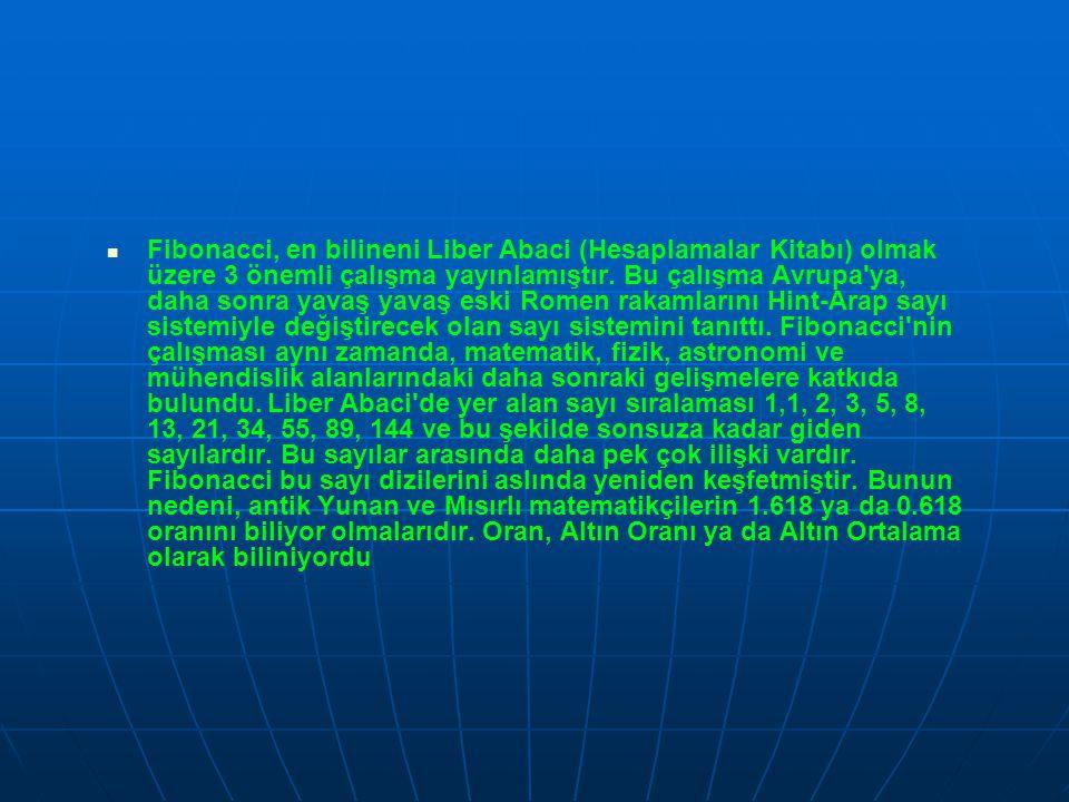   Fibonacci, en bilineni Liber Abaci (Hesaplamalar Kitabı) olmak üzere 3 önemli çalışma yayınlamıştır. Bu çalışma Avrupa'ya, daha sonra yavaş yavaş