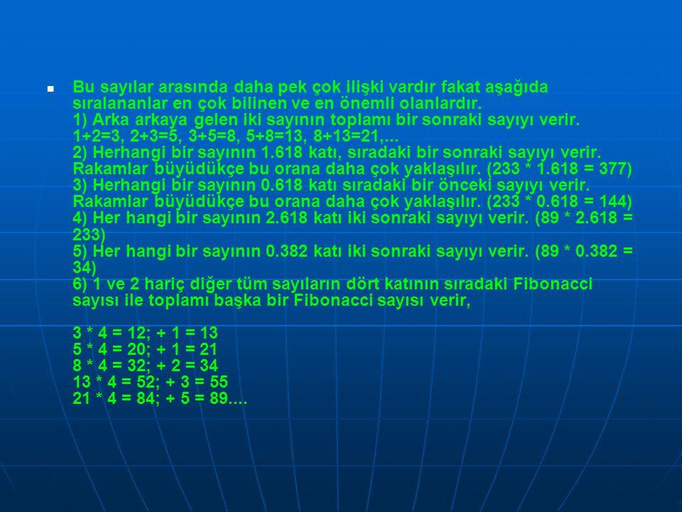   Fibonacci sayıları ile ilgili daha birçok enteresan hesaplamalar vardır.