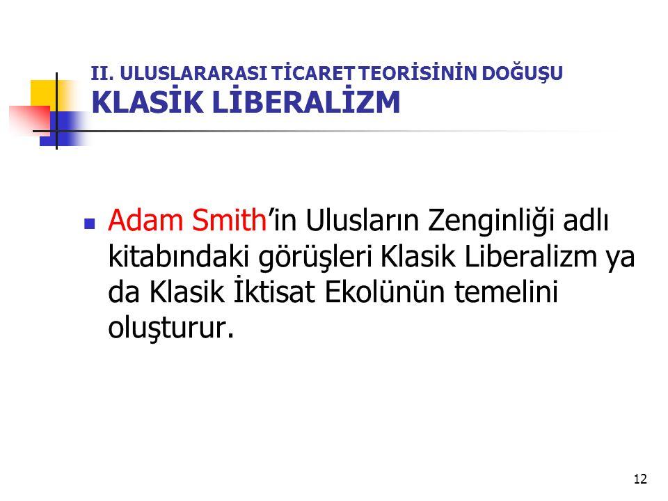 12 II. ULUSLARARASI TİCARET TEORİSİNİN DOĞUŞU KLASİK LİBERALİZM  Adam Smith'in Ulusların Zenginliği adlı kitabındaki görüşleri Klasik Liberalizm ya d