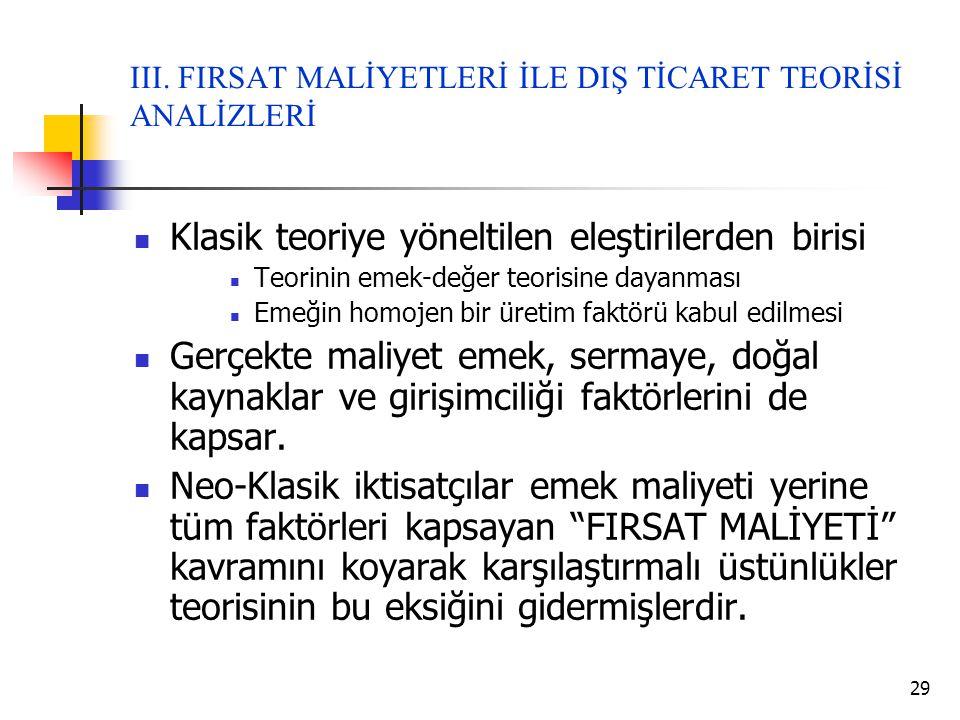 29 III. FIRSAT MALİYETLERİ İLE DIŞ TİCARET TEORİSİ ANALİZLERİ  Klasik teoriye yöneltilen eleştirilerden birisi  Teorinin emek-değer teorisine dayanm