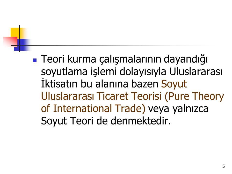  Teori kurma çalışmalarının dayandığı soyutlama işlemi dolayısıyla Uluslararası İktisatın bu alanına bazen Soyut Uluslararası Ticaret Teorisi (Pure T