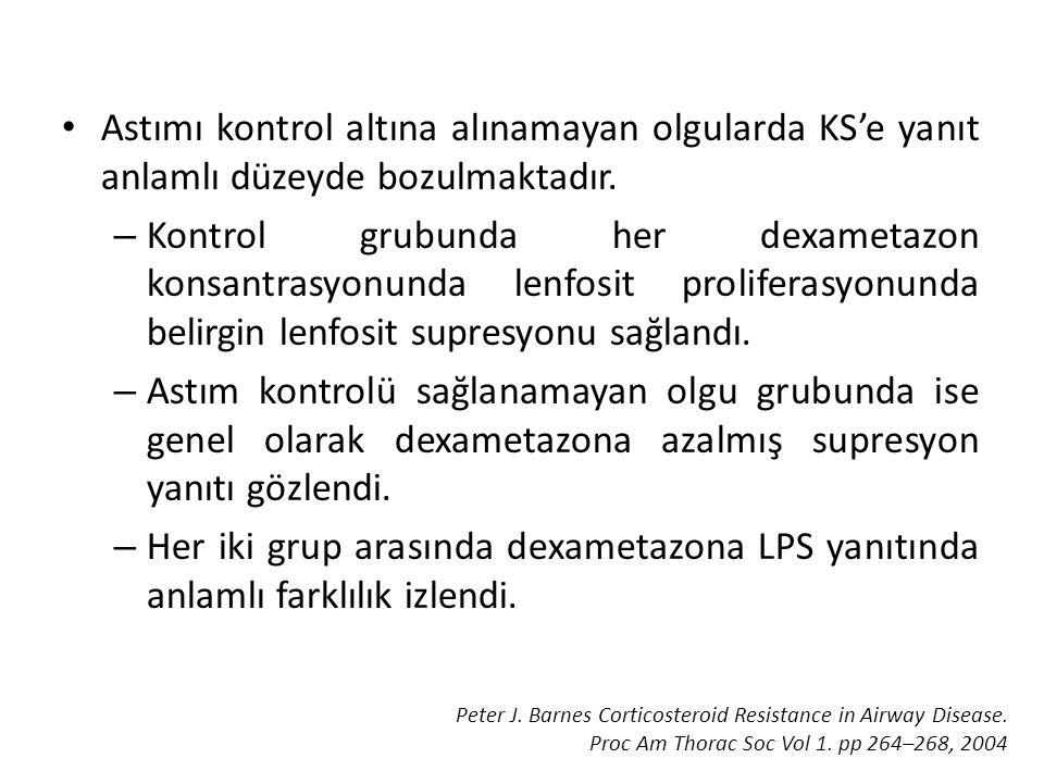 • Astımı kontrol altına alınamayan olgularda KS'e yanıt anlamlı düzeyde bozulmaktadır. – Kontrol grubunda her dexametazon konsantrasyonunda lenfosit p