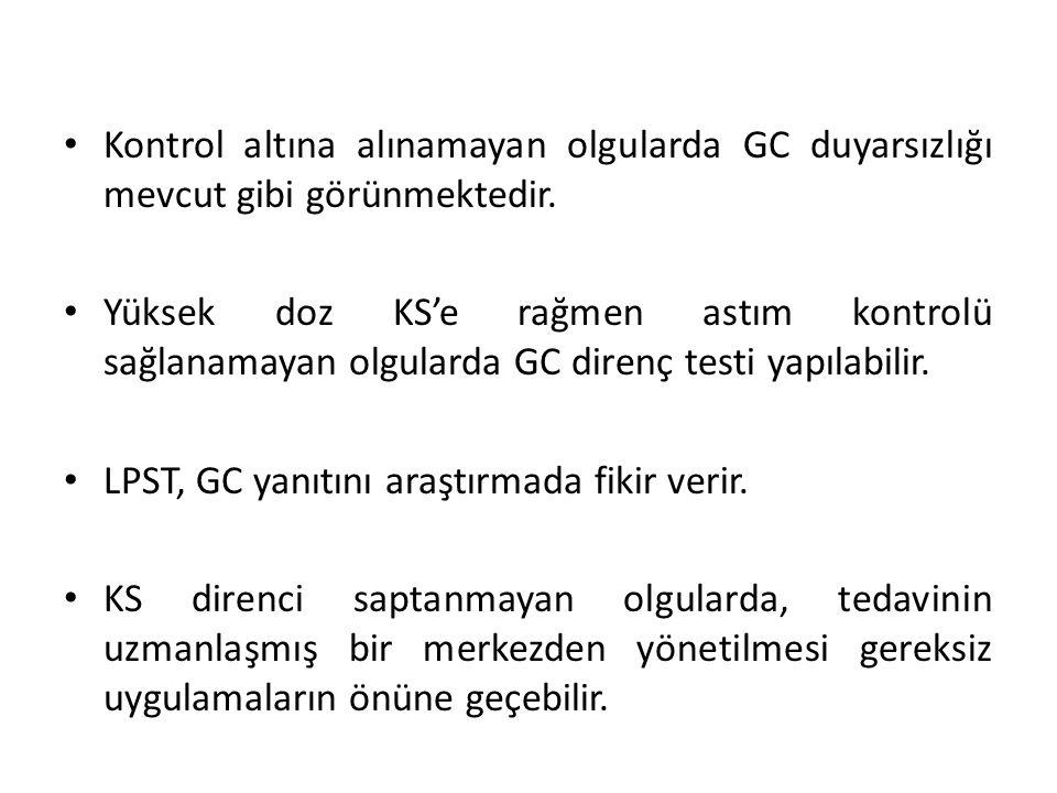 • Kontrol altına alınamayan olgularda GC duyarsızlığı mevcut gibi görünmektedir. • Yüksek doz KS'e rağmen astım kontrolü sağlanamayan olgularda GC dir