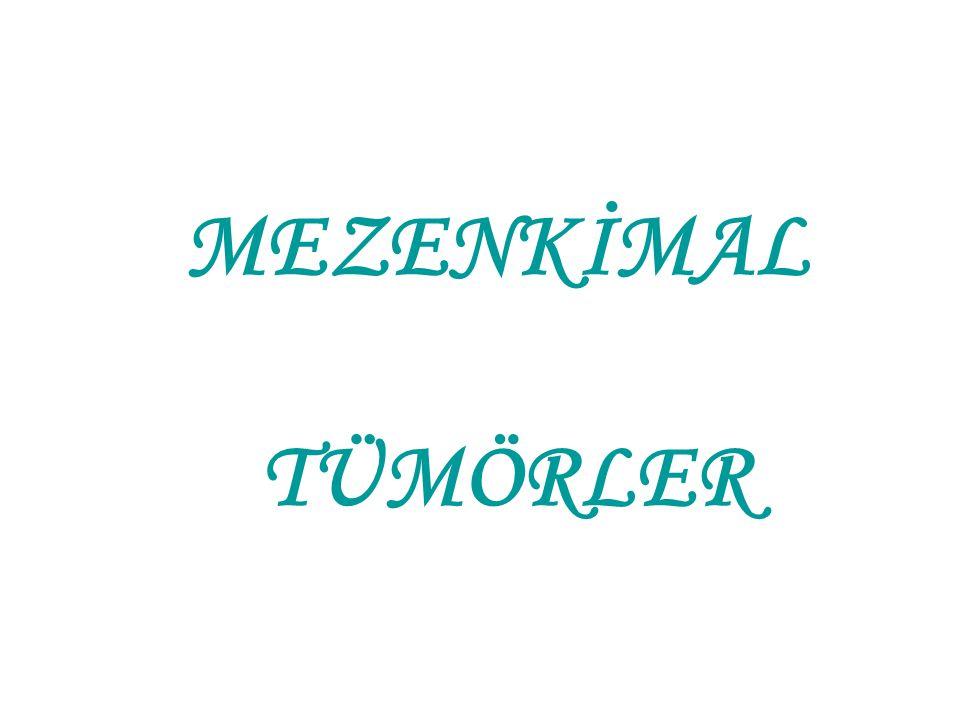 Embriyonal botyroid rabdomiyosarkom (devam) •Yıldızsı hücrelerden oluşan miksoid zeminde geniş ve uzun sitoplazmalı enine çizgilenme gösteren rabdomiyoblastlar var •Prognoz kötü, nüks sıktır