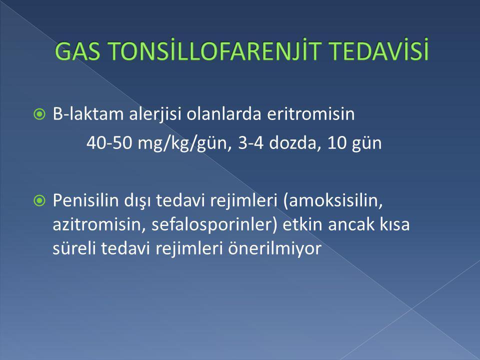  B-laktam alerjisi olanlarda eritromisin 40-50 mg/kg/gün, 3-4 dozda, 10 gün  Penisilin dışı tedavi rejimleri (amoksisilin, azitromisin, sefalosporin