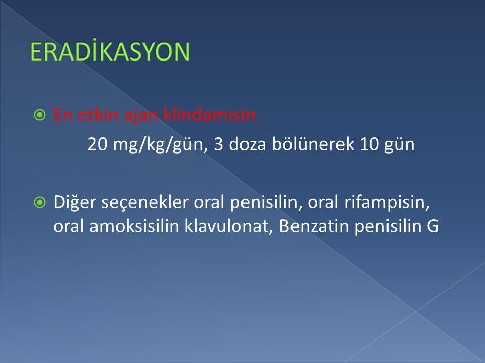  En etkin ajan klindamisin 20 mg/kg/gün, 3 doza bölünerek 10 gün  Diğer seçenekler oral penisilin, oral rifampisin, oral amoksisilin klavulonat, Ben