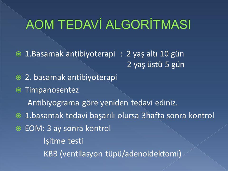  1.Basamak antibiyoterapi : 2 yaş altı 10 gün 2 yaş üstü 5 gün  2. basamak antibiyoterapi  Timpanosentez Antibiyograma göre yeniden tedavi ediniz.