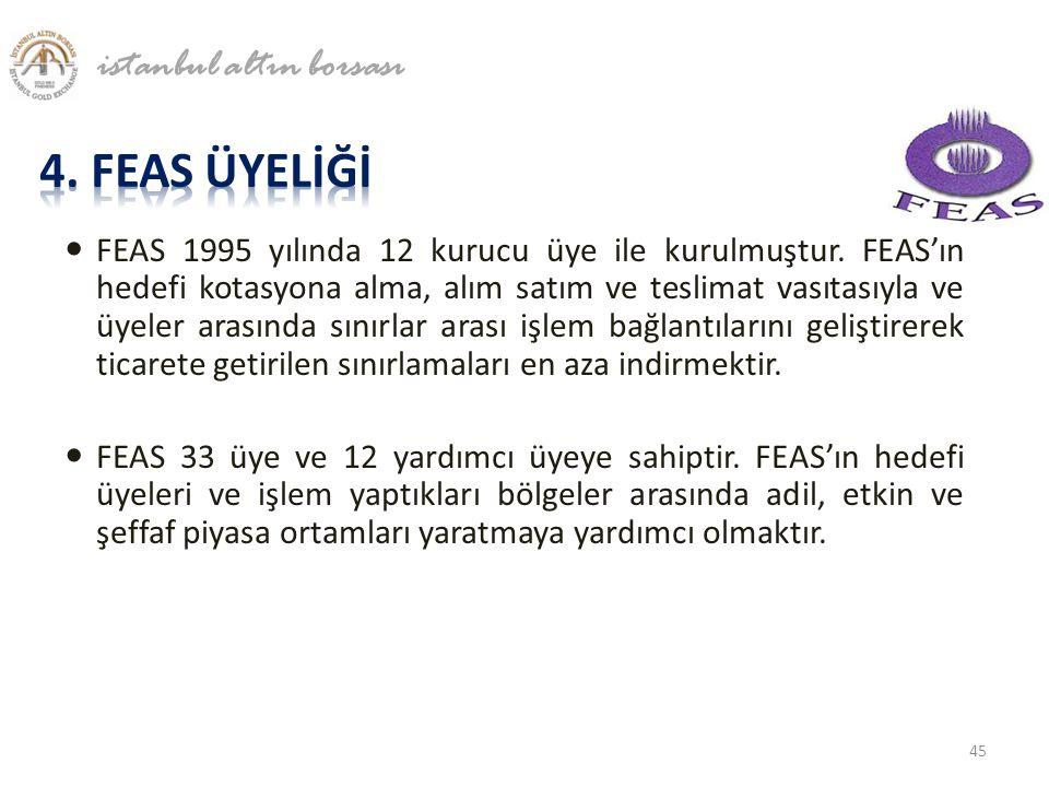  FEAS 1995 yılında 12 kurucu üye ile kurulmuştur. FEAS'ın hedefi kotasyona alma, alım satım ve teslimat vasıtasıyla ve üyeler arasında sınırlar arası