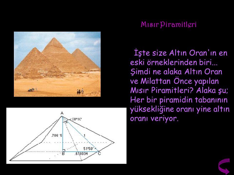 Mısır Piramitleri İşte size Altın Oran'ın en eski örneklerinden biri... Şimdi ne alaka Altın Oran ve Milattan Önce yapılan Mısır Piramitleri? Alaka şu