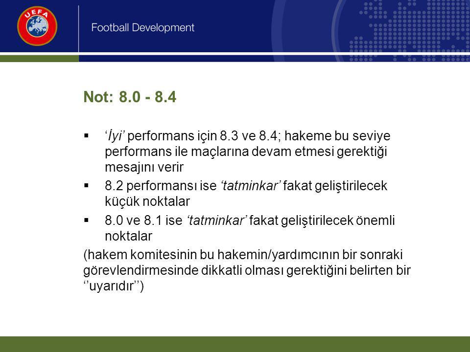 Not: 8.0 - 8.4  'İyi' performans için 8.3 ve 8.4; hakeme bu seviye performans ile maçlarına devam etmesi gerektiği mesajını verir  8.2 performansı i