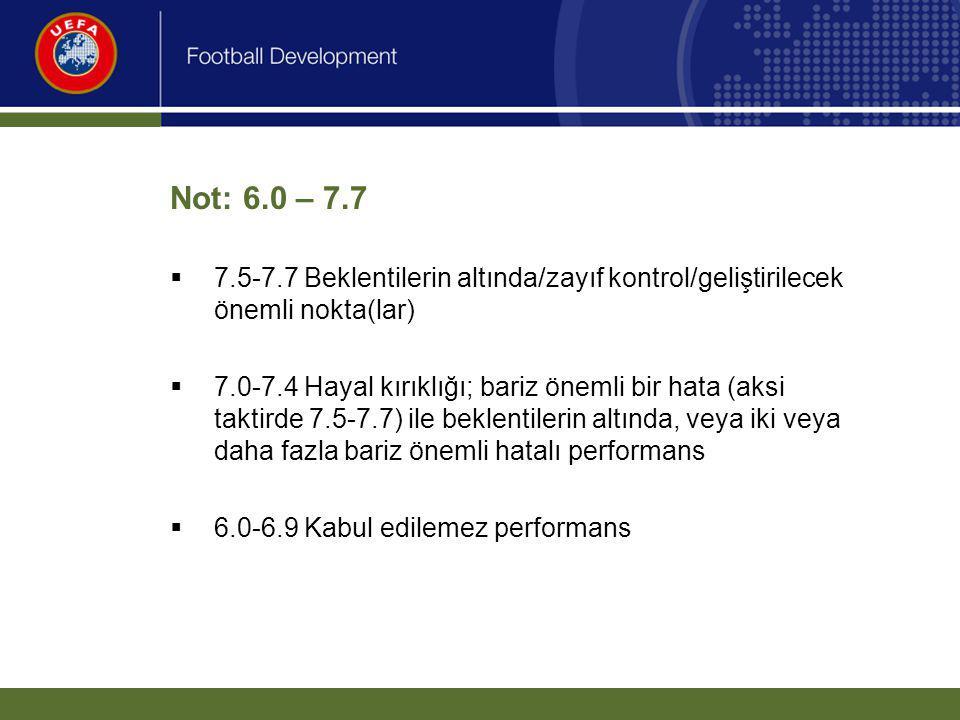 Not: 6.0 – 7.7  7.5-7.7 Beklentilerin altında/zayıf kontrol/geliştirilecek önemli nokta(lar)  7.0-7.4 Hayal kırıklığı; bariz önemli bir hata (aksi t