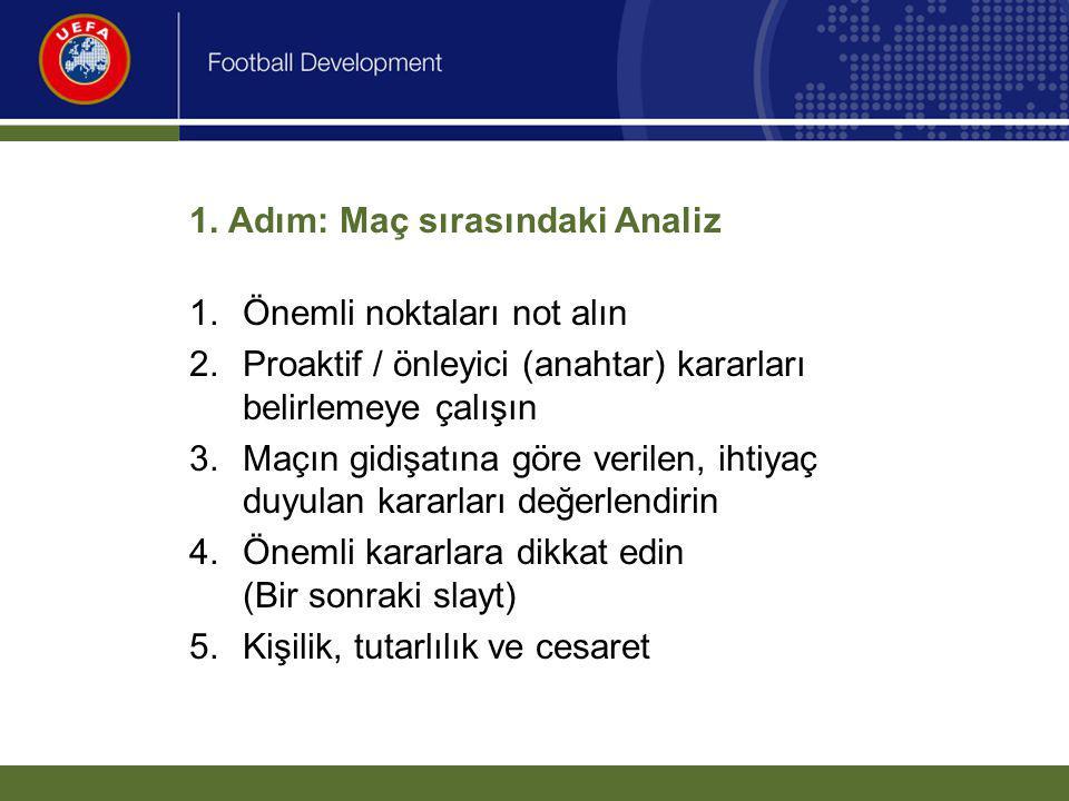 1. Adım: Maç sırasındaki Analiz 1.Önemli noktaları not alın 2.Proaktif / önleyici (anahtar) kararları belirlemeye çalışın 3.Maçın gidişatına göre veri