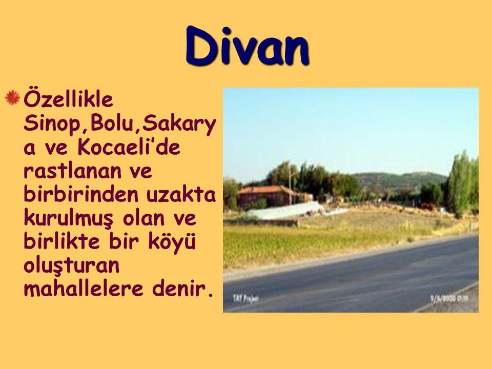 Divan Özellikle Sinop,Bolu,Sakary a ve Kocaeli'de rastlanan ve birbirinden uzakta kurulmuş olan ve birlikte bir köyü oluşturan mahallelere denir.