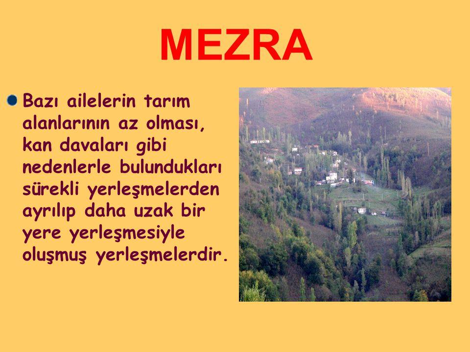 MEZRA Bazı ailelerin tarım alanlarının az olması, kan davaları gibi nedenlerle bulundukları sürekli yerleşmelerden ayrılıp daha uzak bir yere yerleşmesiyle oluşmuş yerleşmelerdir.