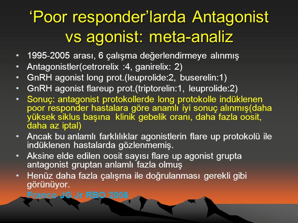 'Poor responder'larda Antagonist vs agonist: meta-analiz •1995-2005 arası, 6 çalışma değerlendirmeye alınmış •Antagonistler(cetrorelix :4, ganirelix:
