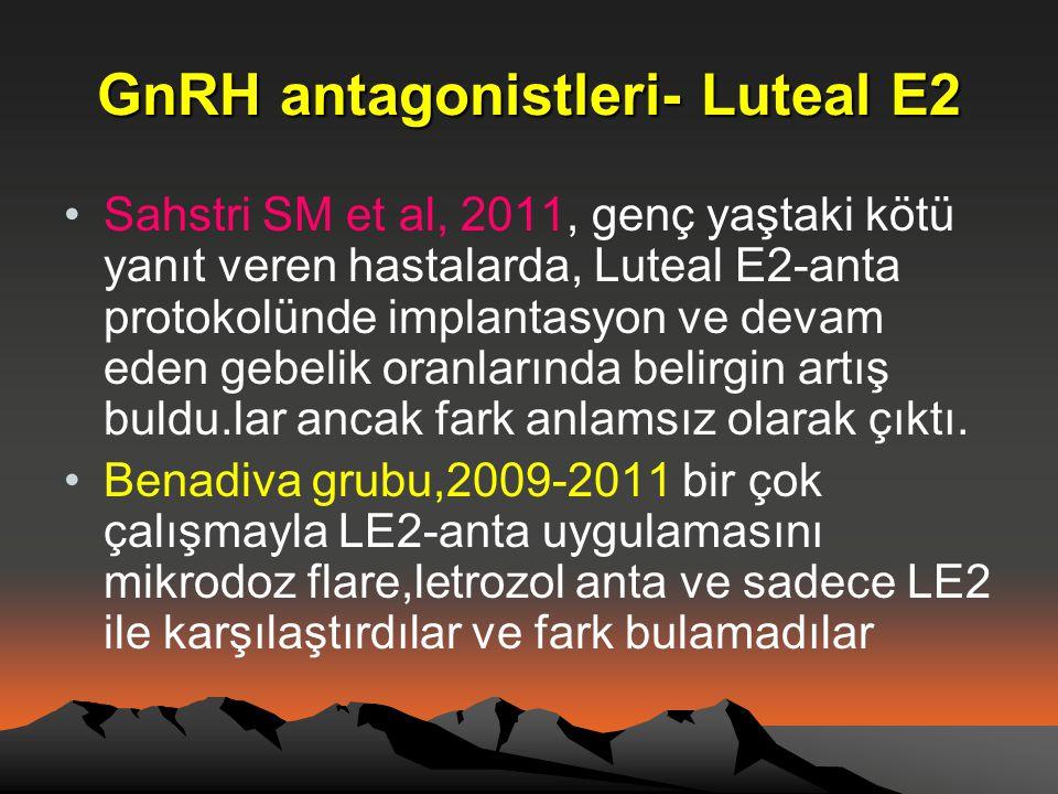 GnRH antagonistleri- Luteal E2 •Sahstri SM et al, 2011, genç yaştaki kötü yanıt veren hastalarda, Luteal E2-anta protokolünde implantasyon ve devam ed