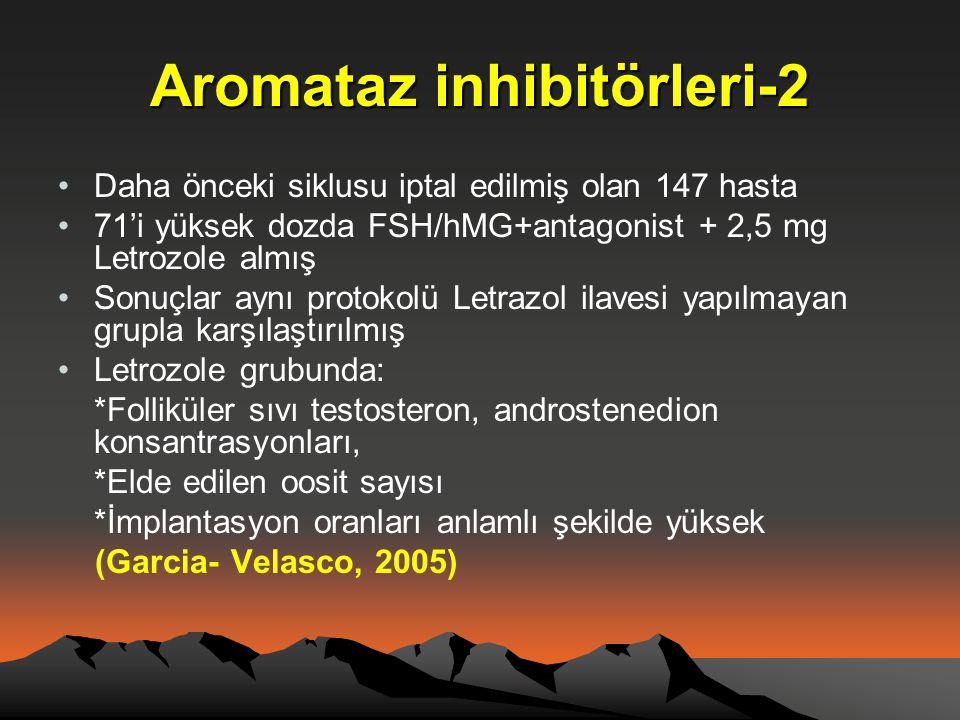 Aromataz inhibitörleri-2 •Daha önceki siklusu iptal edilmiş olan 147 hasta •71'i yüksek dozda FSH/hMG+antagonist + 2,5 mg Letrozole almış •Sonuçlar ay