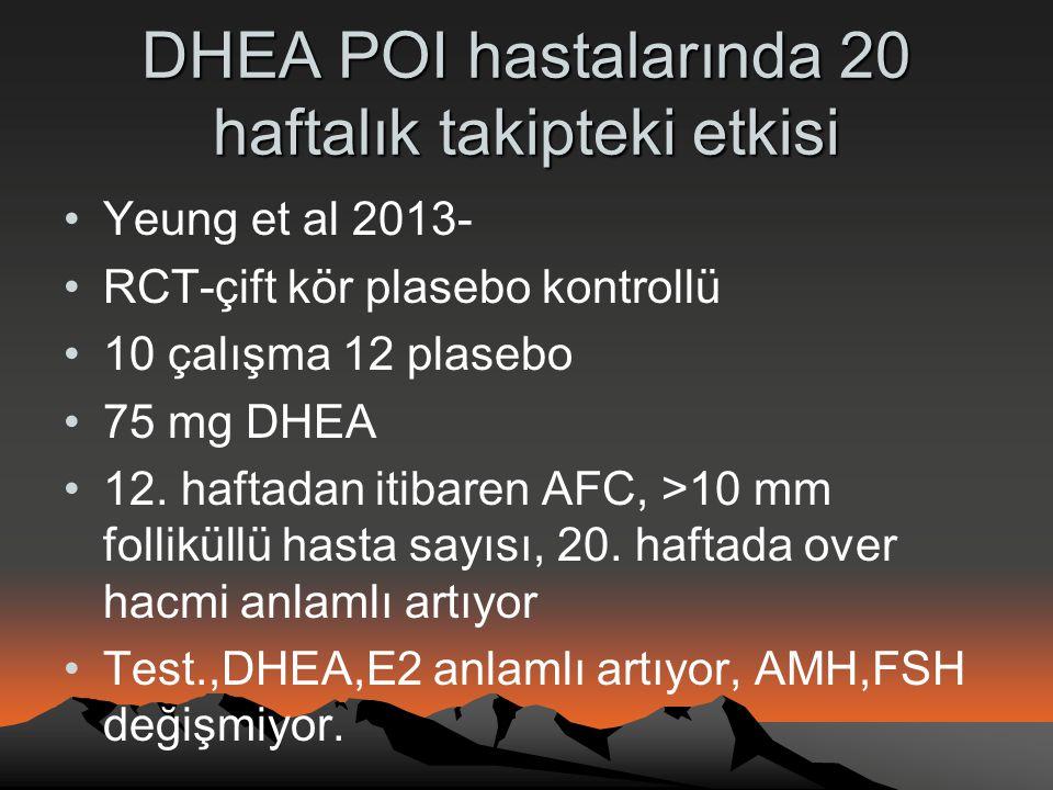 DHEA POI hastalarında 20 haftalık takipteki etkisi •Yeung et al 2013- •RCT-çift kör plasebo kontrollü •10 çalışma 12 plasebo •75 mg DHEA •12. haftadan